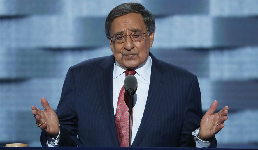Former Defense Secretary Leon Panetta speaks during the third day of the Democratic National Convention on Wednesday in Philadelphia. (Associated Press)