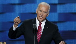 Vice President Joe Biden speaks during the third day of the Democratic National Convention in Philadelphia , Wednesday, July 27, 2016. (AP Photo/J. Scott Applewhite)