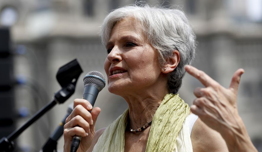 """Jill Stein, the presumptive Green Party presidential nominee, speaks in Philadelphia to angry and disaffected supporters of Bernard Sanders. A new rallying cry is """"Jill not Hill."""" (Associated Press)"""