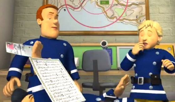 "Mattel issued an apology on July 27, 2016, over a cartoon, ""Fireman Sam,"" which features a man knocking over a page from the Koran. (Fireman Sam screenshot)"