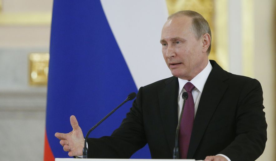 Russian President Vladimir Putin speaks at the Kremlin, in Moscow, Russia, Wednesday, July 27, 2016 during a reception for the Russia's Olympics team. (AP Photo/Alexander Zemlianichenko) ** FILE **