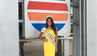 Linette De Los Santos, the new Miss Florida USA 2017, via July 25 Instagram post [https://www.instagram.com/p/BIP9SDXhlS6/]. Miss De Los Santos became Miss Florida after contestant winner Genesis Davila was disqualified for having hired professional stylists to help her with hair and makeup.
