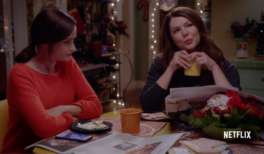 "Screen capture from ""Gilmore Girls: A Year in the Life"" promotional video on YouTube. The series releases on Netflix on November 25, 2016. [https://www.youtube.com/watch?v=fTnU5MG5Edw]"