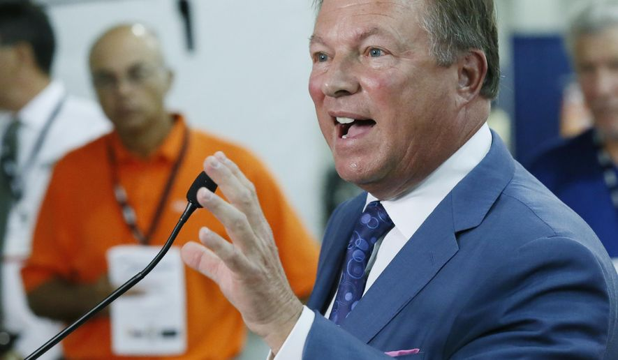 Jeff Reasor, chairman and CEO of Reasor's, an Oklahoma grocery store chain, speaks during a news conference to support state question 792 which would make numerous changes to Oklahoma's liquor laws, in Oklahoma City, Wednesday, July 27, 2016. (AP Photo/Sue Ogrocki)