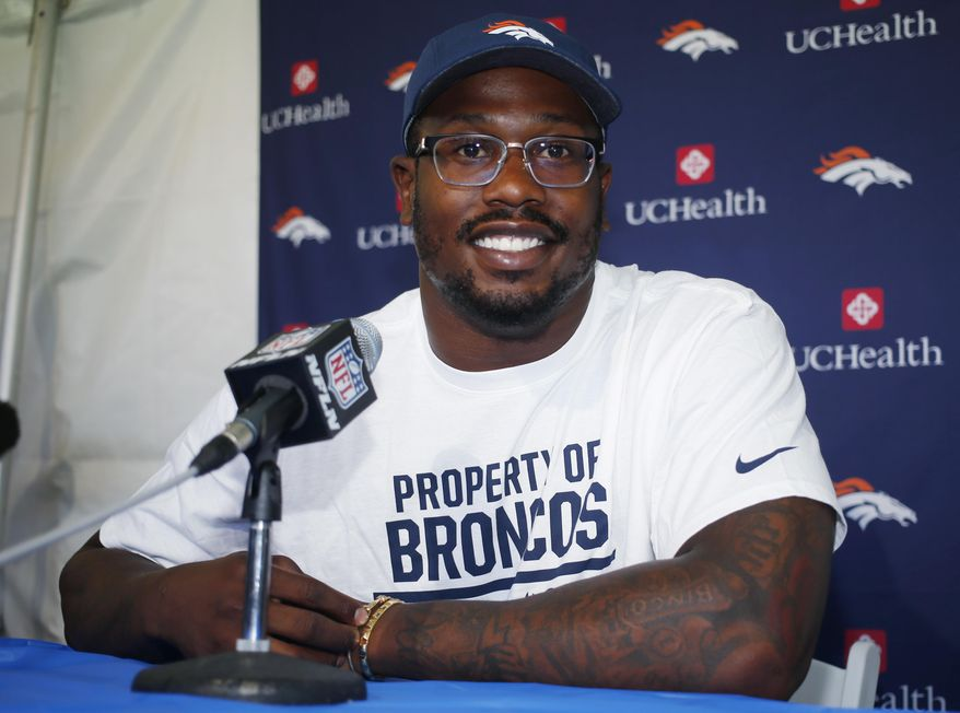 Denver Broncos outside linebacker Von Miller listens to a question during a news conference before the team's opening of training camp Wednesday, July 27, 2016 in Englewood, Colo. (AP Photo/David Zalubowski)