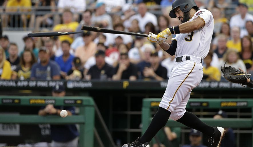 Pittsburgh Pirates' Sean Rodriguez breaks his bat on a pitch from Seattle Mariners starting pitcher James Paxton during the second inning of a baseball game in Pittsburgh, Wednesday, July 27, 2016. Rodriguez grounded out to third to end the inning. (AP Photo/Gene J. Puskar)