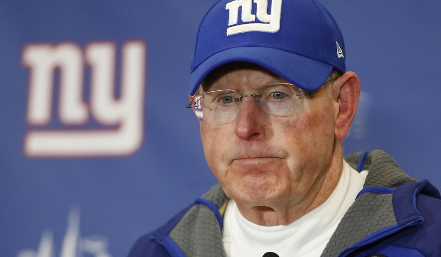 FILE - In this Jan. 3, 2016, file photo, New York Giants coach Tom Coughlin answers questions during a news conference after the team's NFL football game in East Rutherford, N.J. Coughlin, who stepped down as coach earlier this year, will be joining the NFL's football operations staff, a person with knowledge of the agreement tells The Associated Press. The two-time Super Bowl-winning coach will work closely with Troy Vincent and with the NFL's game-related committees in an advisory role. (AP Photo/Kathy Willens, File)