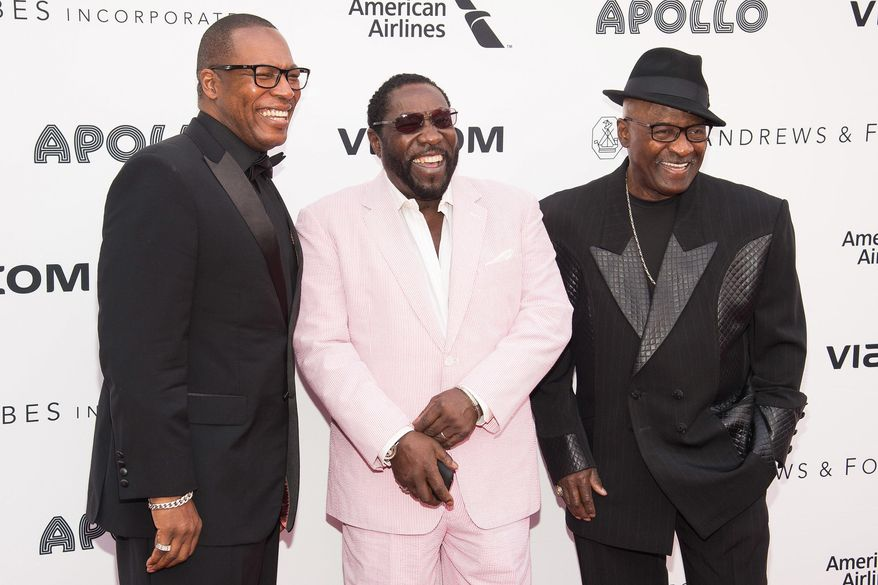 "FILE- In this June 13, 2016, file photo, members of the group The O'Jays, from left, Eric Grant, Eddie Levert and Walter Williams attend the 2016 Apollo Theater Spring Gala in New York. In a statement Wednesday, July 27, Levert and Williams say they sent a letter to Rep. John Mica, R-Florida, asking him to stop using their song ""For The Love Of Money"" in an online video featuring Donald Trump posted in 2014. (Photo by Charles Sykes/Invision/AP, File)"