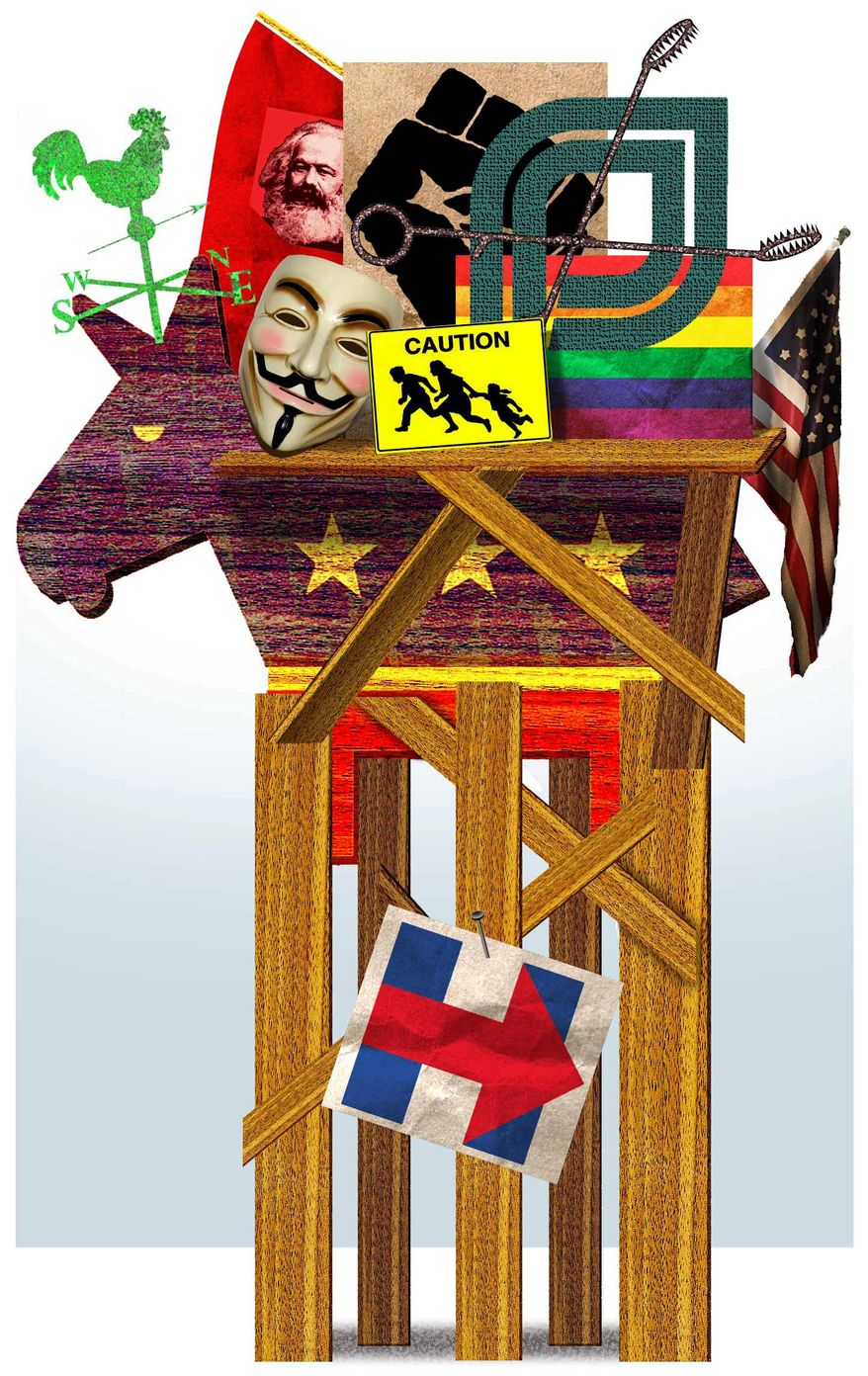 Illustration on Hillary Clinton's position in support of the Democratic base by Alexander Hunter/The Washington Times