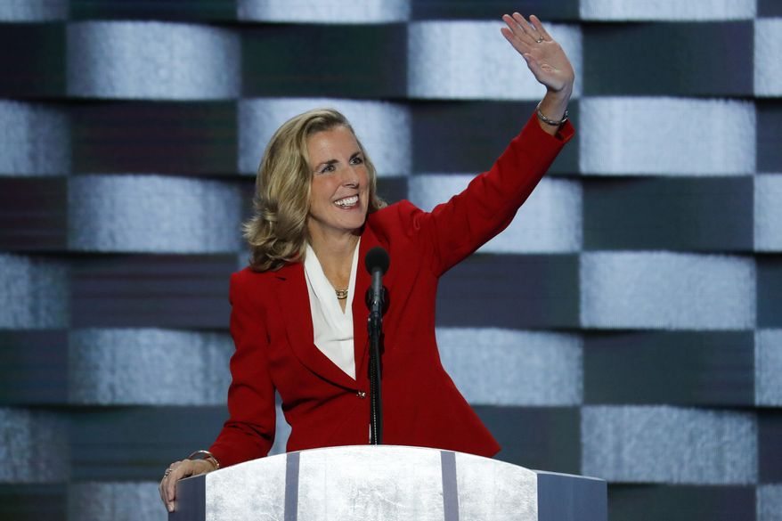 Senate candidate Katie McGinty, D-Pa., waves to delegates before speaking during the final day of the Democratic National Convention in Philadelphia , Thursday, July 28, 2016. (AP Photo/J. Scott Applewhite)