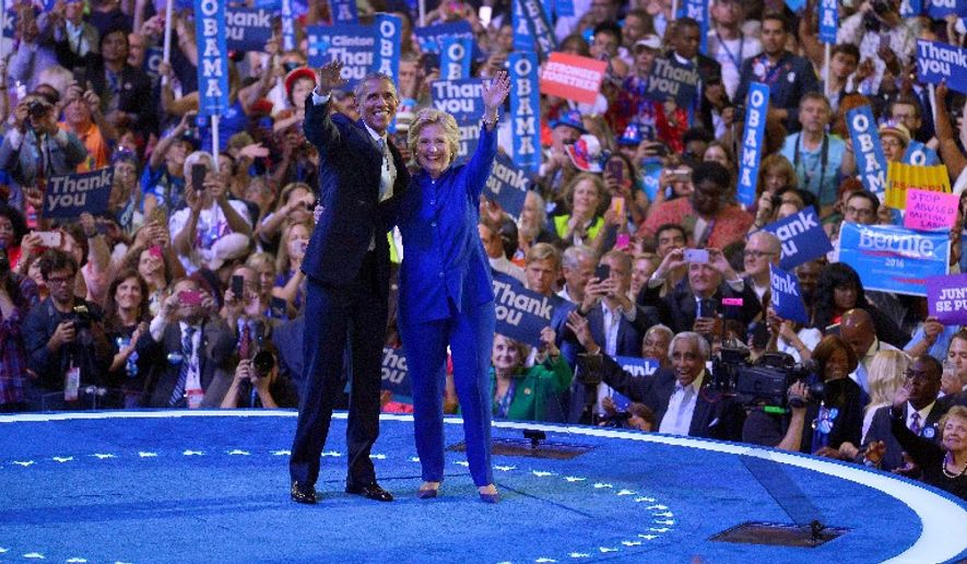 Democratic presidential nominee Hillary Clinton gets full support from President Obama. When she started laying the groundwork for her campaign just after Mr. Obama's re-election four years ago, the party she envisioned isn't the one that gathered this week. (Associated Press)