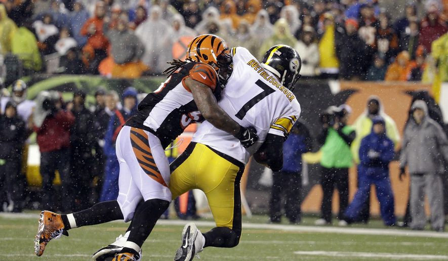 FILE - In this Jan. 9, 2016, file photo, Pittsburgh Steelers' Ben Roethlisberger (7) is sacked by Cincinnati Bengals' Vontaze Burfict (55) during the second half of an NFL wild-card playoff football game, in Cincinnati. The Bengals open training camp with one goal on defense: Figure out how to replace middle linebacker Vontaze Burfict, who is suspended by the NFL for the first three games. (AP Photo/John Minchillo, File)