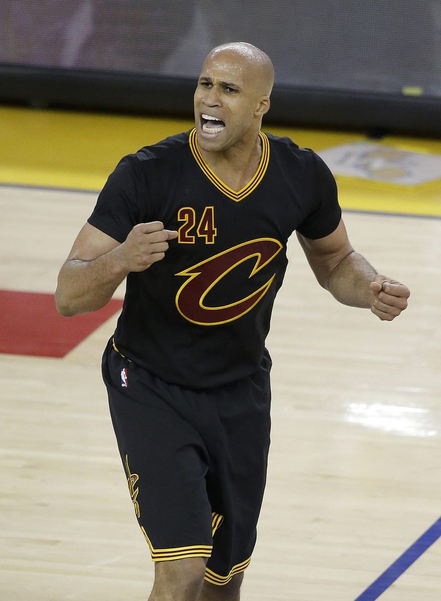 File-This June 13, 2016, file photo shows Cleveland Cavaliers forward Richard Jefferson (24) reacting to a call during the second half of Game 5 of basketball's NBA Finals against the Golden State Warriors in Oakland, Calif.  Jefferson has re-signed with the NBA champion Cavaliers for two seasons after saying he would retire. Jefferson announced his return earlier this month on his Snapchat account, and the team made it official Thursday, July 28, 2016.(AP Photo/Eric Risberg, File)