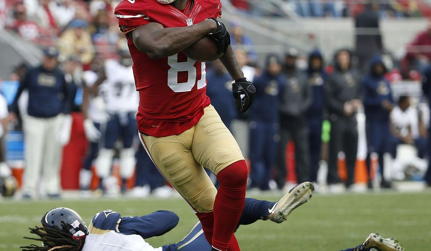 File-This Jan. 3, 2016, file photo shows San Francisco 49ers wide receiver Anquan Boldin (81) catching a touchdown pass against St. Louis Rams cornerback Janoris Jenkins (21) during the first half of an NFL football game in Santa Clara, Calif. The Detroit Lions have signed Boldin. Detroit made the move just before opening training camp on Thursday, July 28, 2016. Boldin bolsters depth at a position depleted by the retirement of Calvin Johnson.(AP Photo/Tony Avelar)