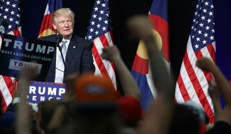 Republican presidential candidate Donald Trump speaks during a campaign rally, Friday, July 29, 2016, in Colorado Springs, Colo. (AP Photo/Evan Vucci)