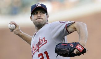 Washington Nationals starting pitcher Max Scherzer throws to the San Francisco Giants during the first inning of a baseball game Friday, July 29, 2016, in San Francisco. (AP Photo/Marcio Jose Sanchez) **FILE**