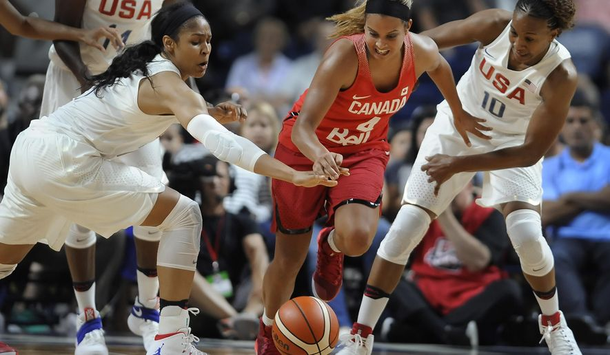 United States' Maya Moore, left, and Tamika Catchings, right, pressure Canada's Miah-Marie Langlois, center, during the first half of an exhibition basketball game, Friday, July 29, 2016, in Bridgeport, Conn. (AP Photo/Jessica Hill)