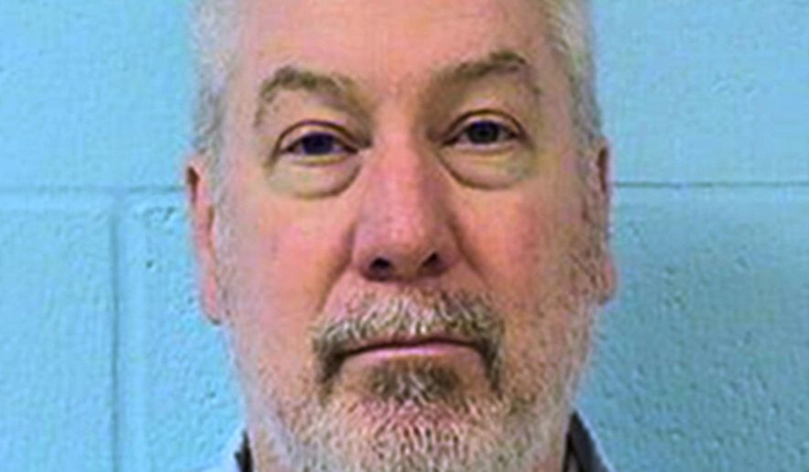 FILE - This undated file photo provided by the Illinois Department of Corrections shows former Bolingbrook, Ill., police officer Drew Peterson. Peterson is set to appear in a southwestern Illinois courtroom Friday, July 29, 2016 for sentencing, after he was convicted in a May murder-for-hire trial. Jurors agreed that Peterson attempted to hire an inmate's uncle to kill Will County State's Attorney James Glasgow. (Illinois Department of Corrections via AP, File)
