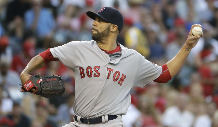 Boston Red Sox starting pitcher David Price throws to the Los Angeles Angels during the first inning of a baseball game Thursday, July 28, 2016, in Anaheim, Calif. (AP Photo/Jae C. Hong)