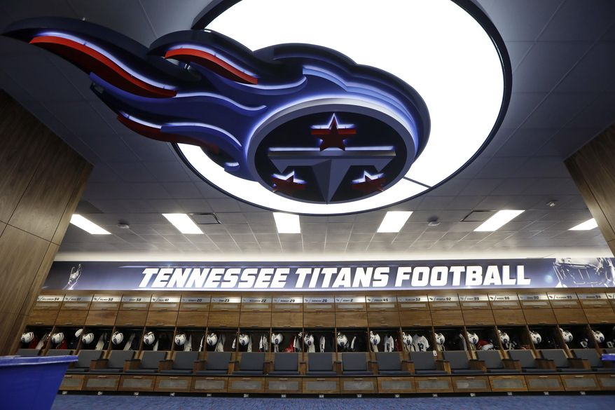 The renovated Tennessee Titans locker room is seen during a tour before NFL football training camp Friday, July 29, 2016, in Nashville, Tenn. The team is scheduled to be on the practice field for the first day of camp Saturday. (AP Photo/Mark Humphrey)