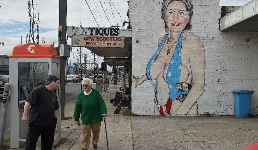 A mural depicting Democratic presidential nominee Hillary Clinton in a skimpy swimsuit has offended politicians in a suburb of Melbourne who are looking into whether the street art is illegal under Australian law.  Photo credit: AFP/Paul Crock. [https://www.yahoo.com/news/swimsuit-mural-hillary-clinton-creates-stir-australia-072457596.html]