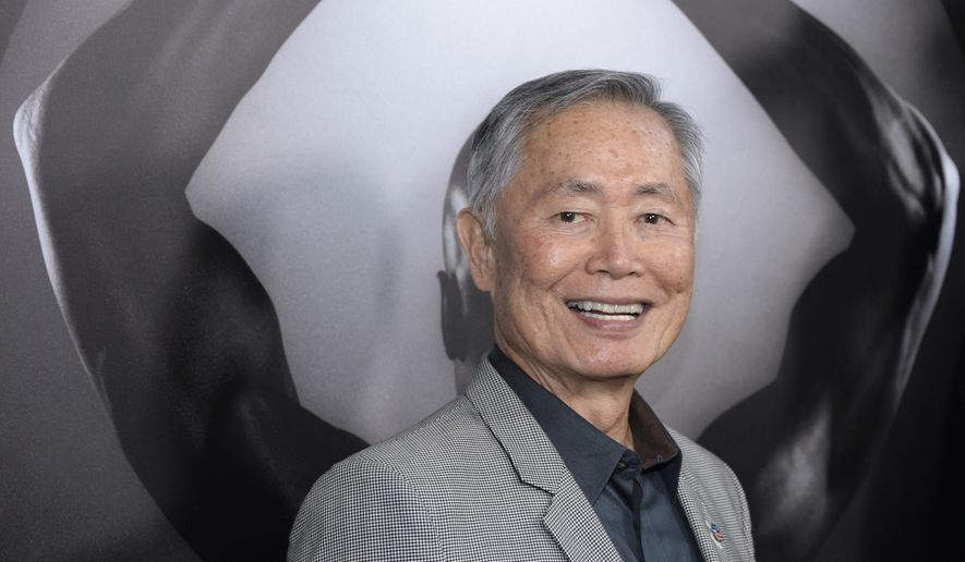 """FILE - In this March 15, 2016 file photo, actor George Takei attends the premiere of """"Mapplethorpe: Look at the Pictures"""" in Los Angeles. Takei is speaking out against GOP presidential candidate Donald Trump, and he's doing it in Spanish in an English-subtitled video that's drawn more than 12 million views in less than two weeks online.(Photo by Phil McCarten/Invision/AP, File)"""