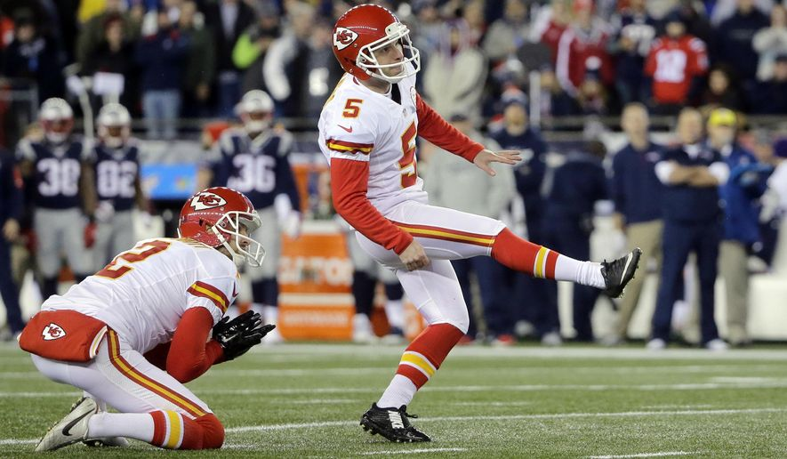 FILE - In this Jan. 16, 2016, file photo, Kansas City Chiefs kicker Cairo Santos (5), of Brazil, kicks a field goal against the New England Patriots in the first half of an NFL divisional playoff football game, in Foxborough, Mass. You see, the only Brazilian playing in the NFL is as eager as anybody to see what kind of show his country puts on this August. Santos knows better than most the many hurdles that have been overcome and the opportunity that Brazil has on the world stage.(AP Photo/Steven Senne, File)