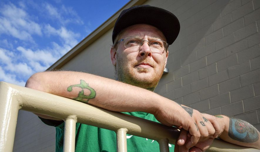 Nathan Anderson, 34, Waite Park, Minn., talks Friday, July 15, 2016, about putting his bachelor's degree on hold because of his criminal record. Anderson is hoping to be a counselor for drug addiction, but can't obtain an internship because of his convictions. (Jason Wachter/The St. Cloud Times via AP)