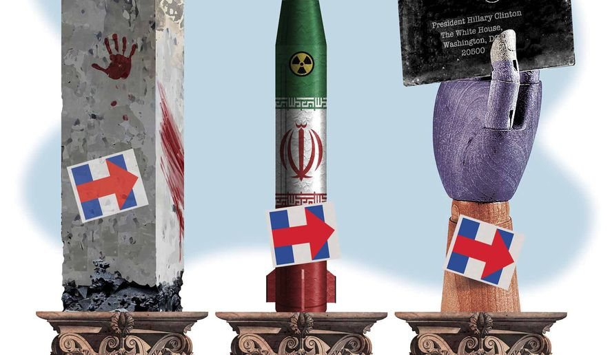 Illustration on Hillary's foreign policy accomplishments by Alexander Hunter/The Washington Times