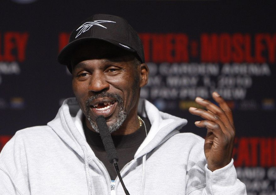 FILE - In this April 28, 2010, file photo, boxer Floyd Mayweather Jr.'s trainer and uncle, Roger Mayweather, speaks during a news conference at the MGM Grand in Las Vegas. Las Vegas police say Roger Mayweather is missing. He was last seen around 3 p.m. Saturday, July 30, 2016, less than a mile away from Mayweather Boxing Club. Authorities say the 55-year-old suffers from several known medical issues and does not have his medication. (AP Photo/Isaac Brekken, File)