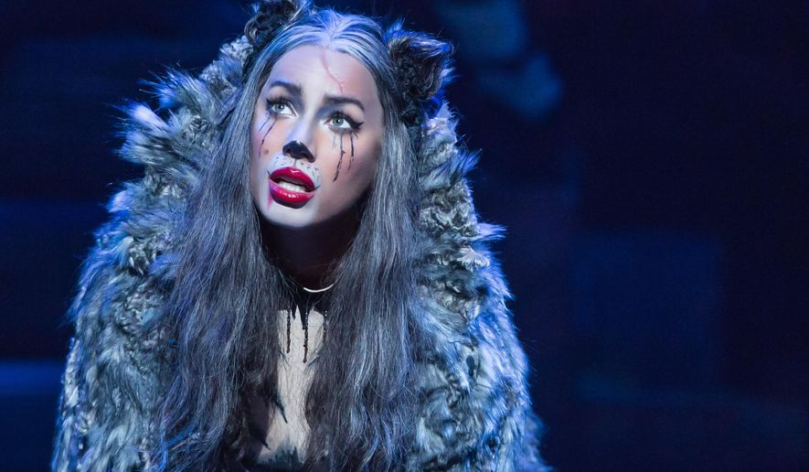 """This image released by The O and M Company shows Leona Lewis as Grizabella during a performance of """"Cats."""" (Matthew Murphy/The O and M Company via AP)"""