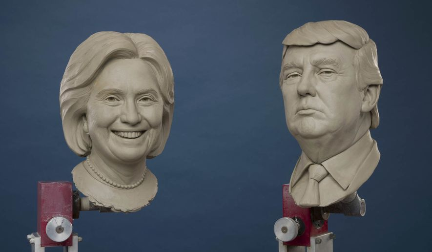 Some preliminary clay sculptures for the future presidential portrait were revealed by Madame Tussauds.