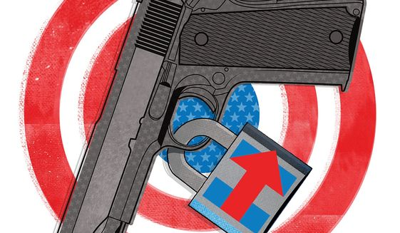 Illustration on a potential Clinton administration's threat to Second Amendment rights by Linas Garsys/The Washington Times