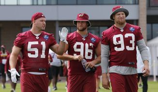 Washington Redskins linebackers Will Compton (51), Houston Bates (96) and Trent Murphy (93) walk to the field at the start of the NFL football teams training camp in Richmond, Va., Thursday, July 28, 2016. (AP Photo/Steve Helber)