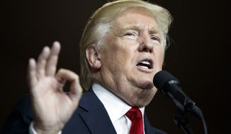 Republican presidential candidate Donald Trump speaks during a campaign rally at Cumberland Valley High School, Monday, Aug. 1, 2016, in Mechanicsburg, Pa. (AP Photo/Evan Vucci)