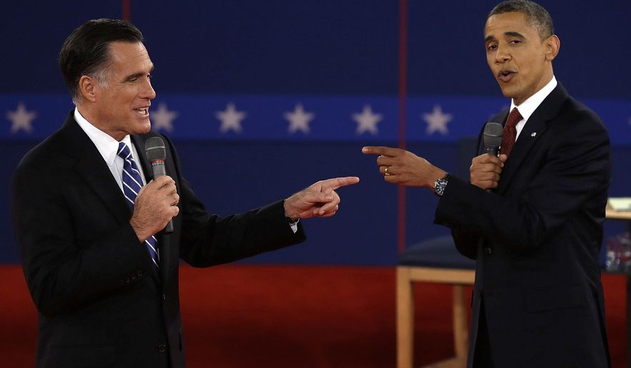 FILE - In this Oct. 16, 2012 file photo, Republican presidential nominee Mitt Romney, left, and President Barack Obama spar during a presidential debate at Hofstra University in Hempstead, N.Y. The first presidential debate in the 2016 race is being held on September 26 at Hofstra, chosen to pinch-hit as an alternate after Wright State University in Ohio dropped out due to concerns over security and costs. (AP Photo/Charlie Neibergall, File)