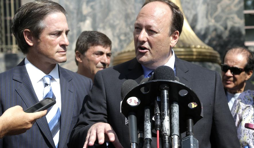 Attorneys for former Los Angeles County Sheriff Lee Baca, Nathan J. Hochman, left, and Michael Zweiback, center, talk to the media on Monday, Aug. 1, 2016, in Los Angeles. Negotiations are continuing between prosecutors and defense lawyers to reach an agreement on how much time in prison former Los Angeles County Sheriff Lee Baca should serve for lying to federal authorities. (AP Photo/Nick Ut)