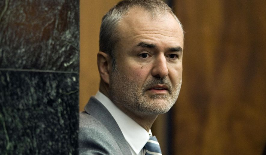 FILE - In this Wednesday, March 16, 2016, file photo, Gawker Media founder Nick Denton arrives in a courtroom in St. Petersburg, Fla. Denton filed for personal bankruptcy Monday, Aug. 1, 2016, in the aftermath of a Florida jury's awarding $140 million to Hulk Hogan in a privacy case revolving around a sex tape posted on Gawker.com. (AP Photo/Steve Nesius, Pool, File)