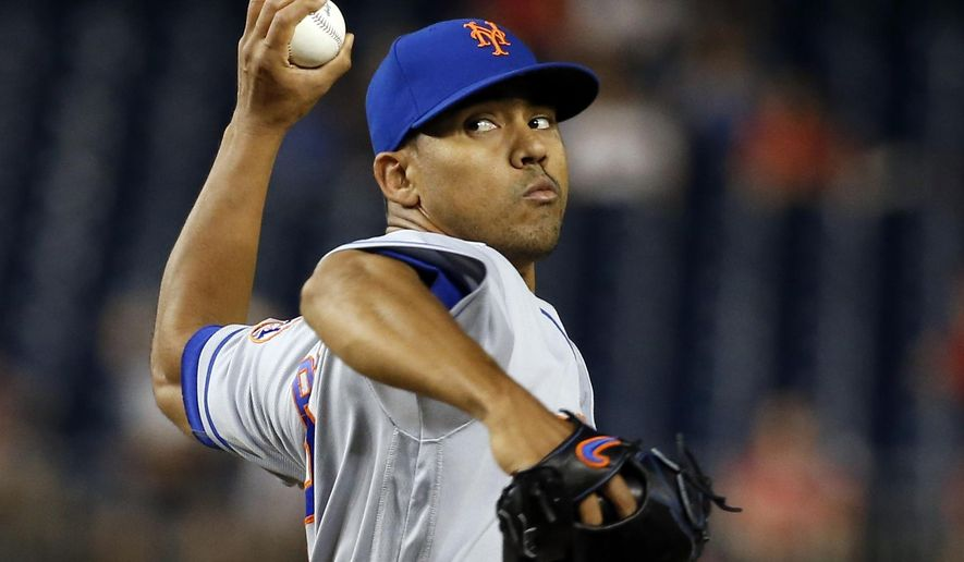 FILE - This June 27, 2016 file photo shows New York Mets relief pitcher Antonio Bastardo throwing during the eighth inning of a baseball game against the Washington Nationals at Nationals Park in Washington. The New York Mets re-acquired Jon Niese from Pittsburgh on Monday, Aug. 1, 2016, bringing the left-handed pitcher back to where he played his first eight seasons in a trade that sent reliever Bastardo to the Pirates. (AP Photo/Alex Brandon, file)