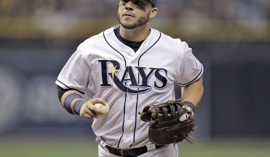 FILE - This July 30, 2016 file photo shows Tampa Bay Rays first baseman Steve Pearce during the fourth inning of a baseball game against the New York Yankees in St. Petersburg, Fla. The Orioles have reacquired Pearce from Tampa Bay, sending the Rays minor league catcher Jonah Heim, Monday, Aug. 1, 2016. (AP Photo/Chris O'Meara, file)