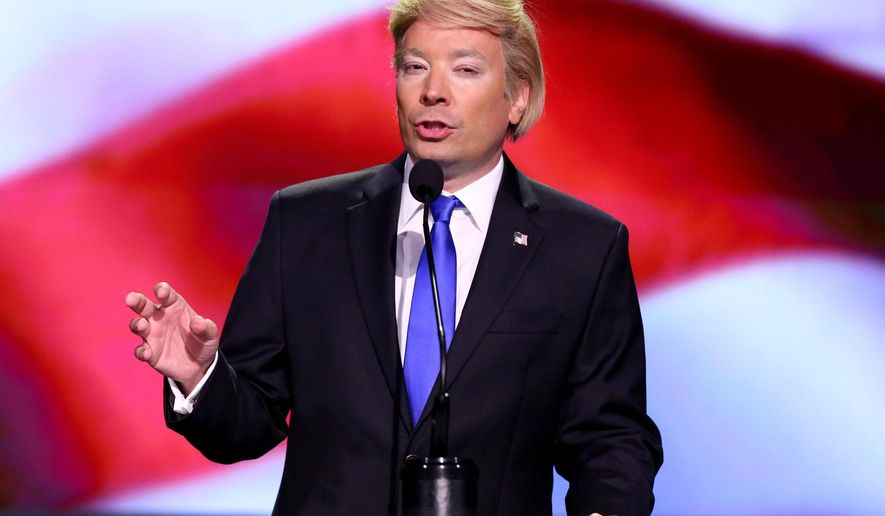 "In this July 19, 2016 photo released by NBC, Jimmy Fallon impersonates Donald Trump on ""The Tonight Show Starring Jimmy Fallon,"" in New York. In every presidential election year since 1992, the Republican candidate was mocked more by comedians than the Democrat, according to a think tank that tallies punchlines. (Andrew Lipovsky/NBC via AP)"