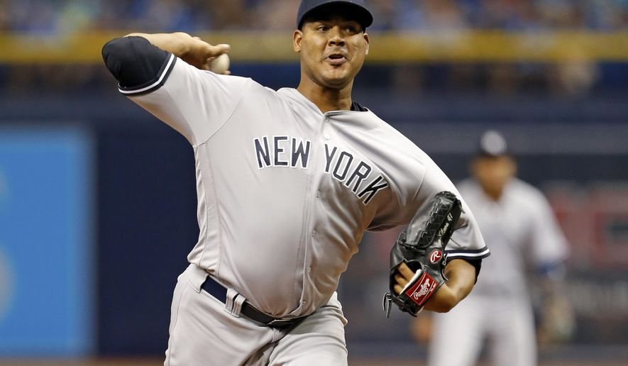 FILE - This July 29, 2016 file photo shows New York Yankees starting pitcher Ivan Nova throwing during the first inning of a baseball against the Tampa Bay Rays game in St. Petersburg, Fla. The retooling New York Yankees have dealt right-hander Ivan Nova to the Pittsburgh Pirates for to players to be named. (AP Photo/Mike Carlson)