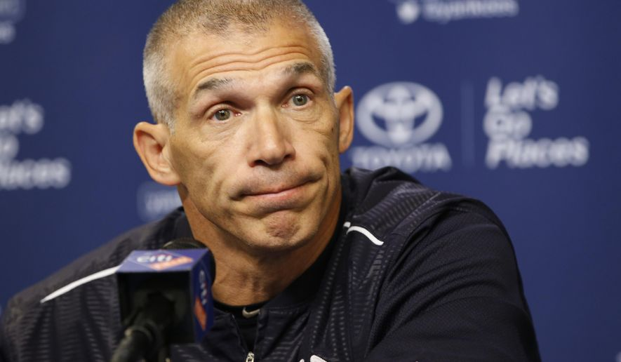 New York Yankees manager Joe Girardi pauses during a news conference before an interleague baseball game against the New York Mets, Monday, Aug. 1, 2016, in New York. (AP Photo/Kathy Willens)