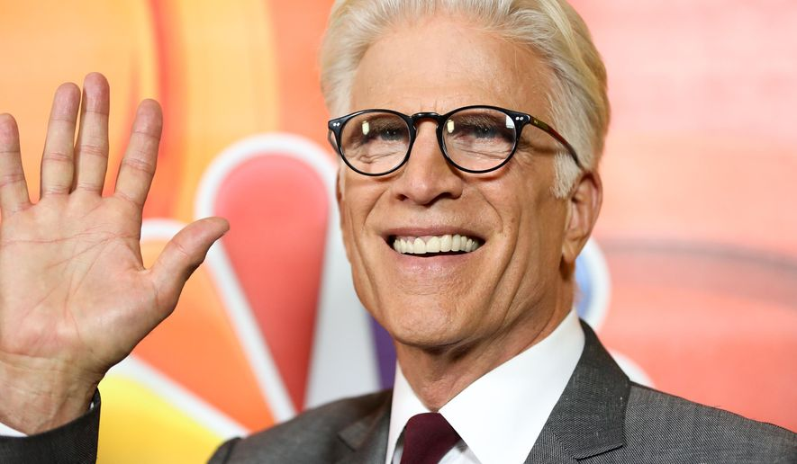 "Ted Danson, a cast member in the television series ""The Good Place,"" arrives at the NBCUniversal Television Critics Association summer press tour on Tuesday, Aug. 2, 2016, in Beverly Hills, Calif. (Photo by Rich Fury/Invision/AP)"