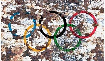 Illustration on the corruption of the Summer Olympics by Alexander Hunter/The Washington Times