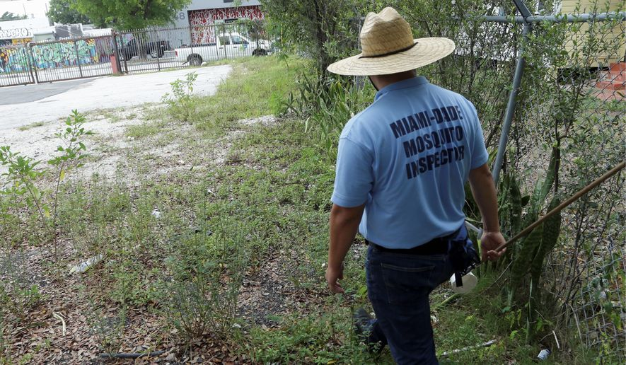 An inspector with the Miami-Dade County mosquito control department looks for pools of standing water, which often serve as a breeding ground for the Zika-carrying insects. (Associated Press)