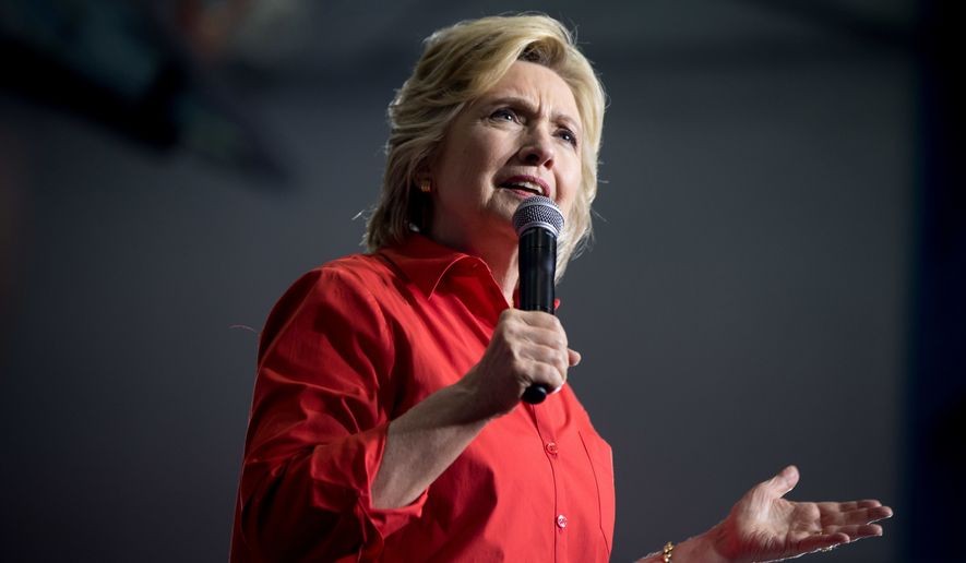 Democratic presidential candidate Hillary Clinton speaks in Youngstown, Ohio. (AP Photo/Andrew Harnik, File)