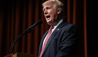Republican presidential candidate Donald Trump speaks during a campaign rally at Briar Woods High School, Tuesday, Aug. 2, 2016, in Ashburn, Va. (AP Photo/Evan Vucci)