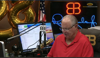 Screen capture from YouTube video of Rush Limbaugh from his August 1, 2016, broadcast, in which he celebrated 28 years of syndication. Accessed via RushLimbaugh.com on August 2, 2016.