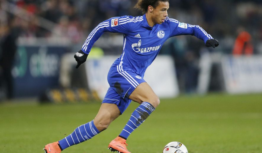 FILE - This is a Friday, Feb. 12, 2016  file photo of Schalke's Leroy Sane during a German Bundesliga soccer match between FSV Mainz 05 and FC Schalke 04 in Mainz, Germany. Manchester City took its offseason spending close to $100 million under new coach Pep Guardiola by signing Germany winger Leroy Sane from Schalke on Tuesday Aug. 2, 2016. (AP Photo/Michael Probst, File)